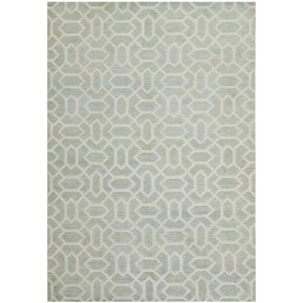 Safavieh Hand-knotted Santa Fe Geometric Light Grey/ Silver Wool Rug - 8' x 10'