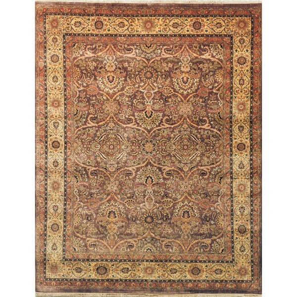 Safavieh Hand-knotted Ganges River Plum/ Gold Wool Rug - 8' x 10'