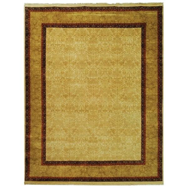 Safavieh Hand-knotted Ganges River Ivory/ Gold Wool Rug - 8' x 10'
