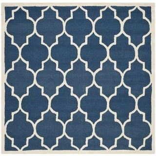 Safavieh Handmade Moroccan Cambridge Navy/ Ivory Wool Rug (10' Square)