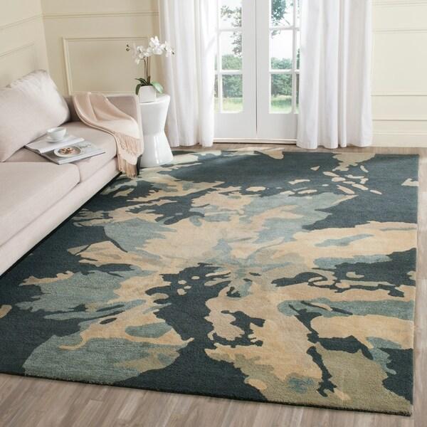 Safavieh Handmade Bella Modern Abstract Steel Blue Wool Rug - 9' x 12'