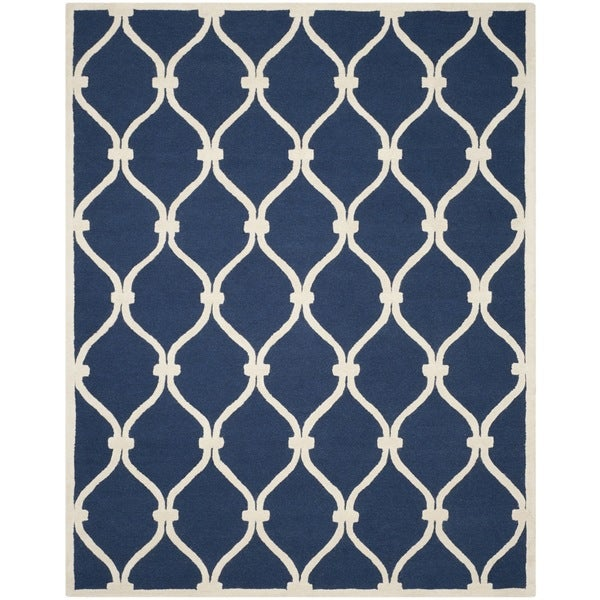 Safavieh Handmade Moroccan Cambridge Navy Ivory Wool Rug