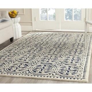Safavieh Handmade Moroccan Cambridge Navy Blue/ Ivory Wool Rug (7'6 x 9'6)