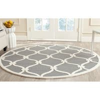 Safavieh Handmade Moroccan Cambridge Dark Grey/ Ivory Wool Rug - 8' x 8' Round