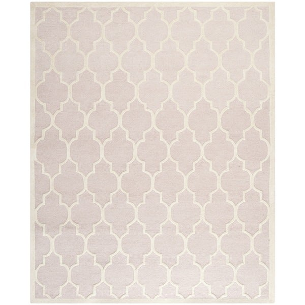 Safavieh Handmade Moroccan Cambridge Light Pink/ Ivory Wool Rug - 7'6 x 9'6