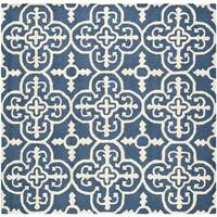 Safavieh Handmade Moroccan Cambridge Navy/ Ivory Wool Rug - 8' x 8' Square