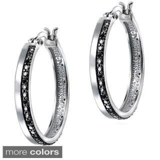 DB Designs 1/4ct TDW Black, Blue or White Diamond Hoop Earrings