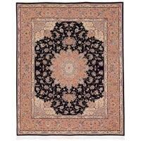 Safavieh Hand-knotted Tabriz Floral Black Wool/ Silk Rug - 9' x 12'