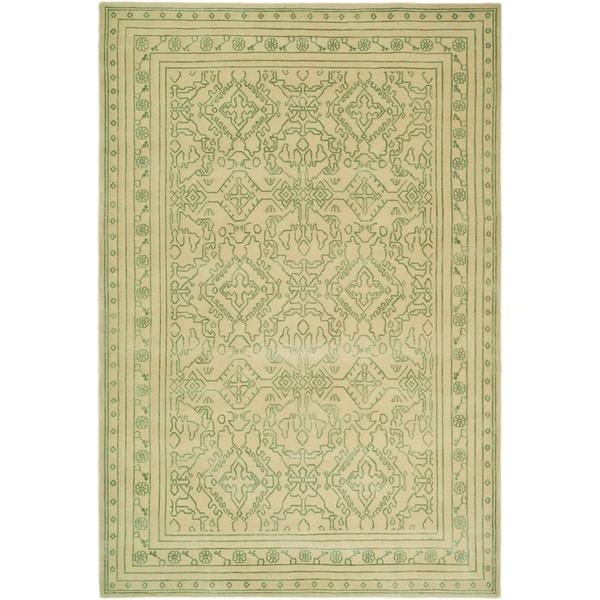 Safavieh Hand-knotted Suzanne Kasler Sky Blue/ Cream Wool/ Silk Rug (6' x 9')