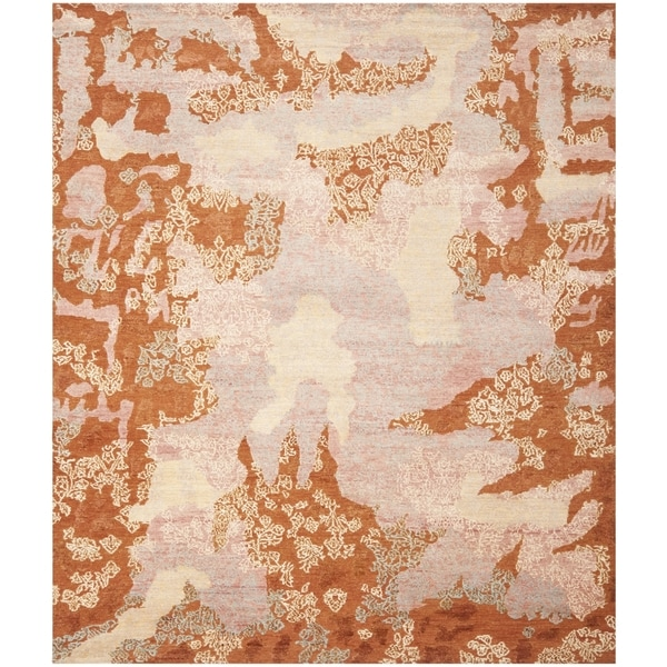 Safavieh Hand-knotted Santa Fe Modern Abstract Rust/ Multi Wool Rug - 6' x 9'
