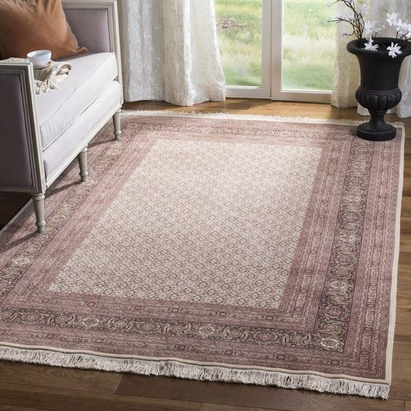 Safavieh Hand-knotted Tabriz Herati Ivory/ Ivory Wool/ Silk Rug - 5' x 7'