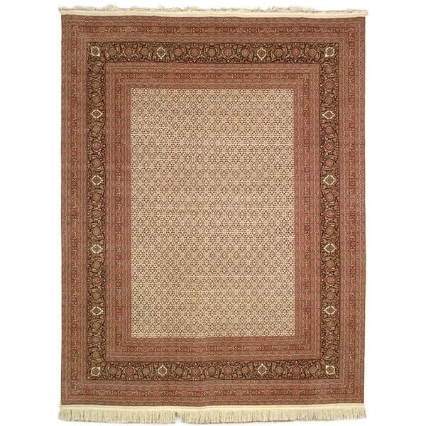 Safavieh Hand-knotted Tabriz Herati Ivory/ Ivory Wool/ Silk Rug (5' x 7')