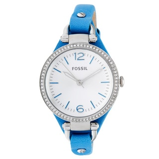 Fossil Women's ES3474 Georgia Mini Round Blue Leather Strap Watch