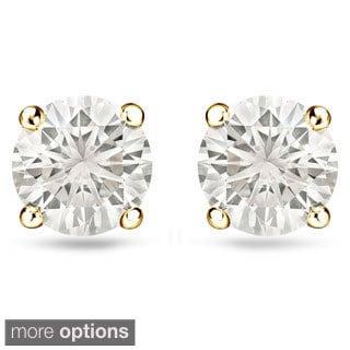 Auriya 14k Gold 1/2ct TDW Reversible Diamond Stud Pearl Earrings