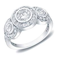 Auriya 1 1/2ct TDW Round 3-Stone Bezel Diamond Halo Engagement Ring 14k White Gold
