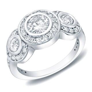 14k White Gold 1 1/2ct TDW Vintage 3-Stone Diamond Bezel Halo Engagement Ring by Auriya