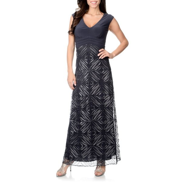 df5ac938e3e Shop Patra Women s Charcoal Knit Bodice Soutache Gown - Free ...