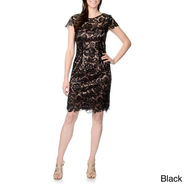 Patra Women's Allover Lace Cap-sleeve Dress