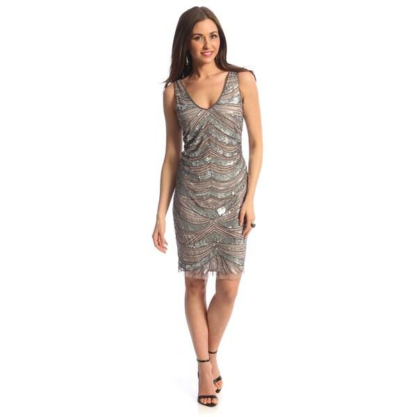 Patra Women's Silver Allover Hand-beaded Evening Dress