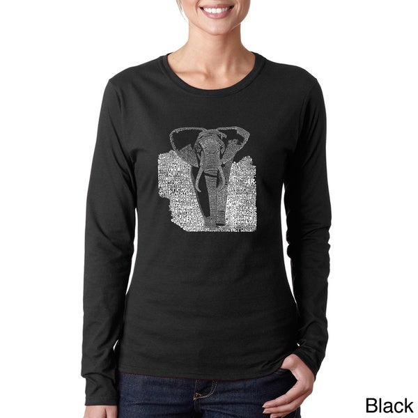 Los Angeles Pop Art Women's 'Elephant Endangered Species' Long Sleeve T-shirt