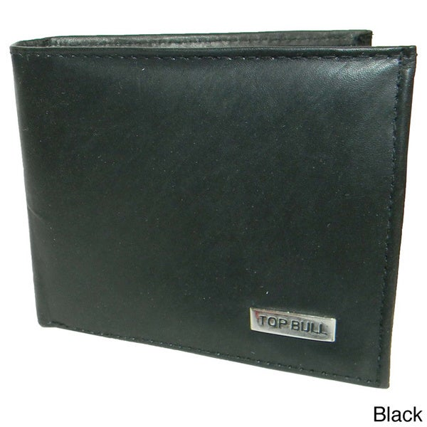 Top Bull Cowhide Leather Bi-fold Button Closure Wallet