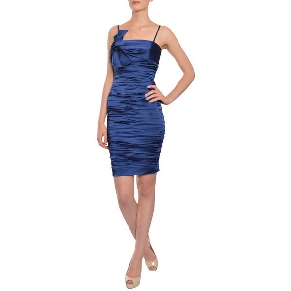 Calvin Klein Women's Navy Stretch-fit Satin Sleeveless Cocktail Party Dress