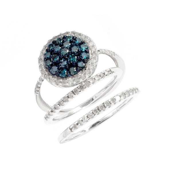 Sterling Silver 1ct TDW Blue and White Diamond Pave 3-piece Bridal Ring Set