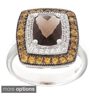 Sofia Sterling Silver Smokey Quartz, Citrine and White Topaz Ring