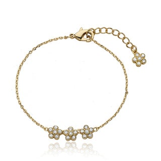 Little Miss Twin Stars 14k Goldplated Brass Children's Cubic Zirconia Flower Bracelet