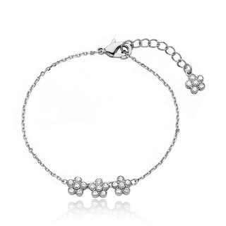 Little Miss Twin Stars Brass Children's Cubic Zirconia Flower Bracelet