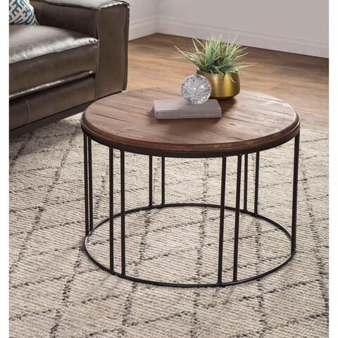 Burnham Reclaimed Wood and Iron Round Coffee Table by Kosas Home