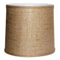Crown Lighting Large Brown Burlap Modified Drum Lampshade with Self-trim