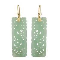 Gems For You 14k Yellow Gold Jade Hook Earrings