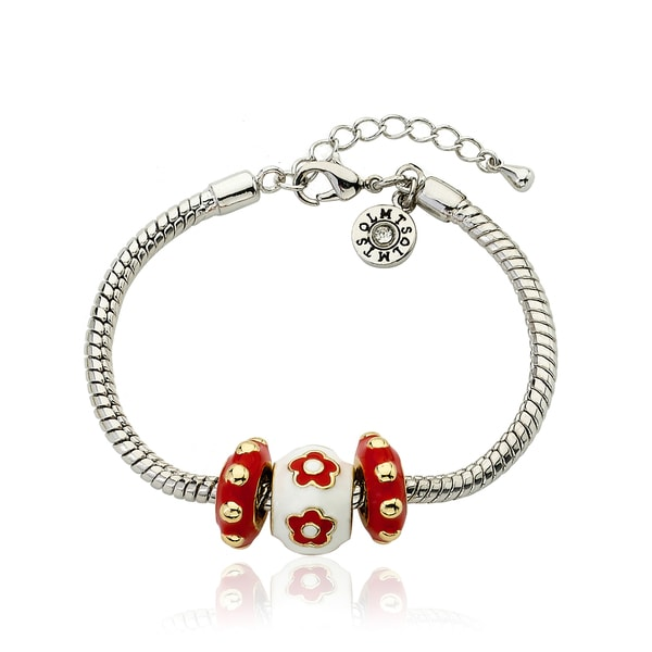 Little Miss Twin Stars Super Star Cutie Red Enamel Children's Bracelet