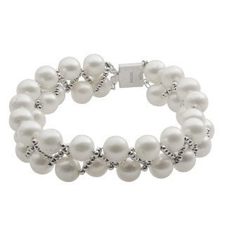 Pearls For You Sterling Silver White Freshwater Pearl Silver Bead Bracelet (7-8 mm)