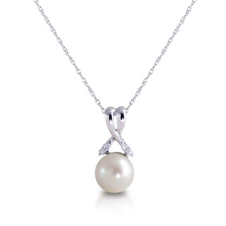 Pearls For You 10k White Gold White Freshwater Pearl and Diamond Necklace (7.5-8 mm) (I-J, I2-I3)