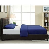 Button-tufted Chocolate Synthetic Leather Upholstery Platform Bed Frame
