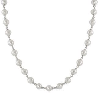 Pearls For You Sterling Silver White Freshwater Pearl Link Toggle Necklace (7.5-8 mm)