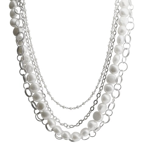 Pearls For You Sterling Silver White Freshwater Baroque Pearl and Silver Chain Necklace (9-10 mm, 2.5-3 mm)