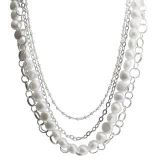 Pearls For You Sterling Silver White Freshwater Baroque Pearl and Silver Chain Necklace (9-10 mm, 2.5-3 mm)|https://ak1.ostkcdn.com/images/products/8861865/P16088969.jpg?impolicy=medium