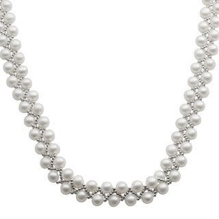 Pearls For You Sterling Silver White Freshwater Pearl Silver Bead Necklace (7-8 mm)