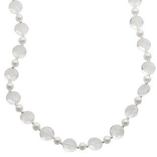 Pearls For You Sterling Silver White Freshwater Pearl and Crystal Quartz Necklace (6-7 mm)