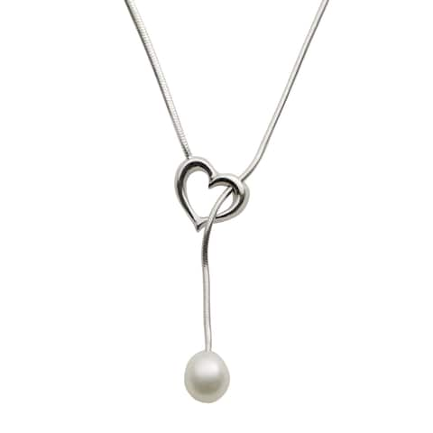 Pearls For You Sterling Silver White Freshwater Pearl Heart Lariat Necklace (7-8 mm)