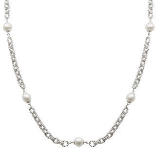 Pearls For You Sterling Silver White Freshwater Pearl Silver Link Station Necklace (8-8.5 mm)