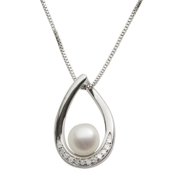Pearls For You Sterling Silver Freshwater Pearl and 1/10ct TDW Diamond Necklace (7-7.5 mm) (I2-I3, H-I)