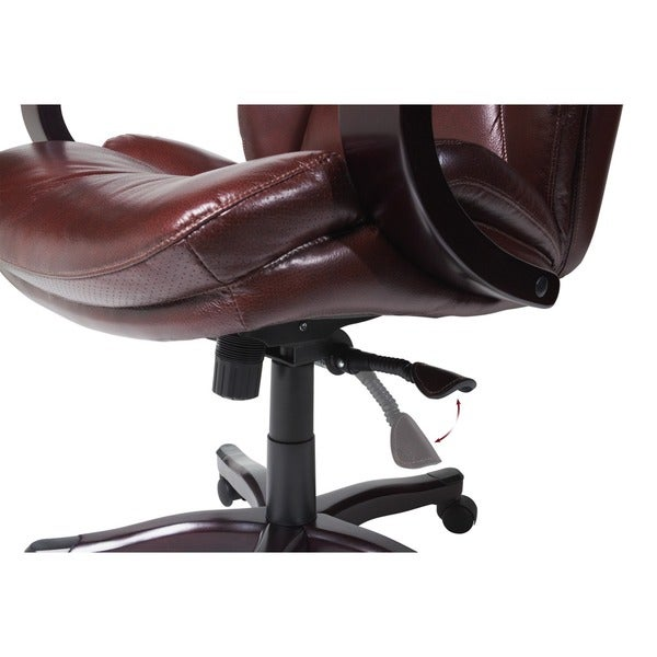 Serta Executive Brown Bonded Leather Big And Tall Office Chair   Free  Shipping Today   Overstock.com   16088991