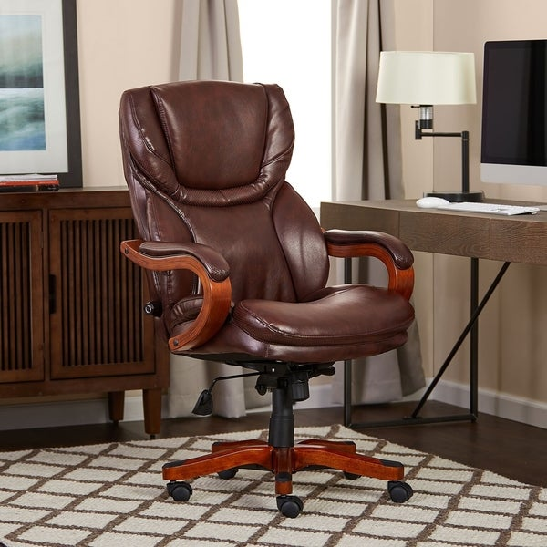 Shop Serta Executive Brown Bonded Leather Big And Tall Office Chair