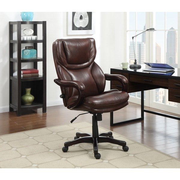 Superb Serta Executive Brown Bonded Leather Big And Tall Office Chair