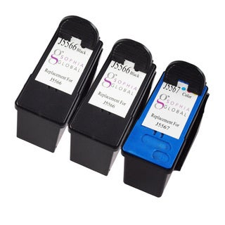 Sophia Global Remanufactured Ink Cartridge Replacement for Dell J5566 and J5567 (2 Black, 1 Color)