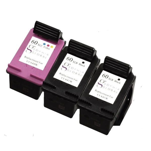 Sophia Global Remanufactured Ink Cartridge Replacement for HP 60XL (2 Black, 1 Color)